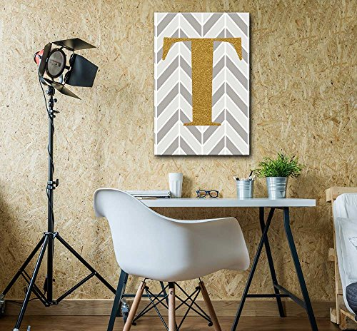 The Letter T in Gold Leaf Effect on Geometric Background Hip Young Art Decor