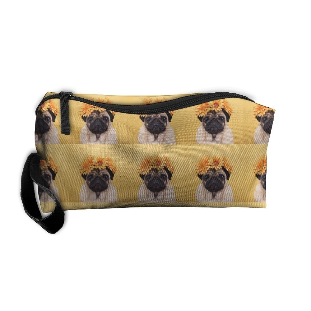 Cute Pug Dog And Flower Travelling Jewelry Pouch For Womens Cosmetic Case With Zipper