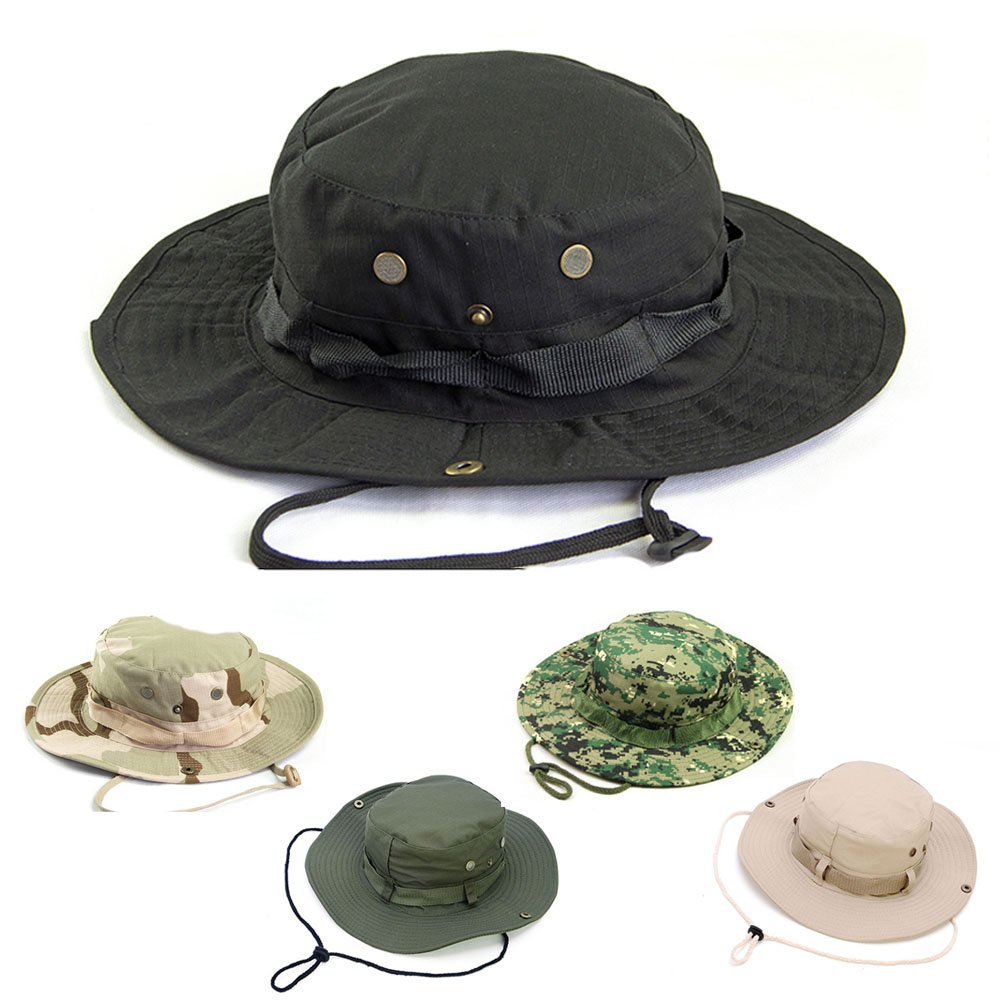 AYAMAYA Sun Protection Tactical Boonie Hat Quick Drying Fishing Hats for Men Women, Breathable Wide Brim Military Hat Summer Outdoor UV Protective Sun Visor Bucket Cap for Hunting Travel Hiking Beach
