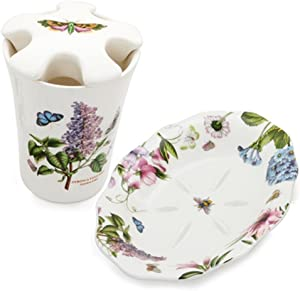 Portmeirion Botanic Garden Toothbrush Holder and Soap Dish Set