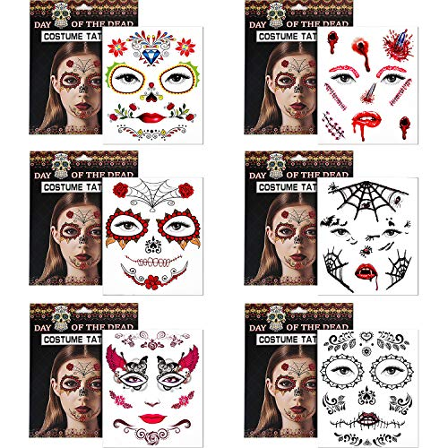 Jovitec 6 Pieces Temporary Face Tattoos Halloween Tattoo Fake Face Stickers for Women and Men, 6 Patterns -