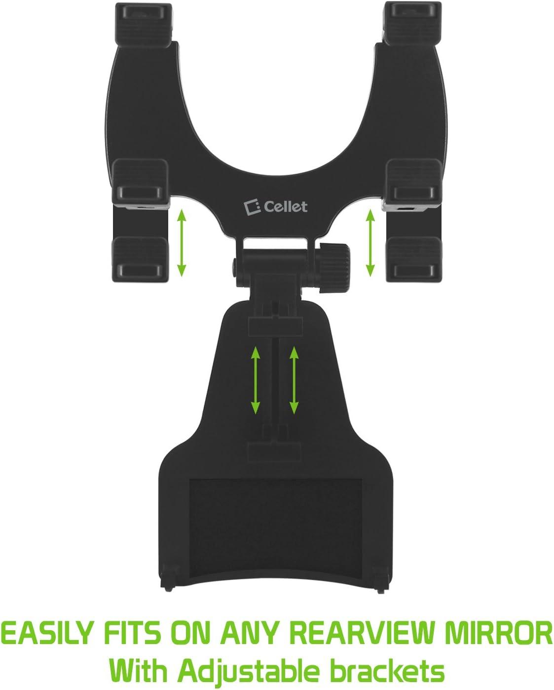 Auto Bracket Cradle Compatible with Apple iPhone 11 Pro 11 Pro Max 11 Xr Xs Max Xs X SE 8 Plus 8 7 Plus 7 6S Plus 6S 6 Plus 65S 5C 5 4S 4 3GS 3G Cellet Rearview Mirror Phone Holder