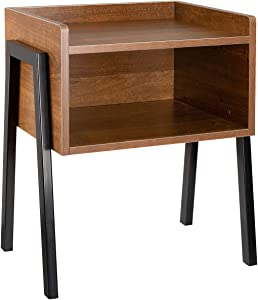 SIDUCAL Stackable Nightstand, Industrial End Table Side Table for Small Spaces Wood Look Accent Furniture with Metal Frame Rustic Brown