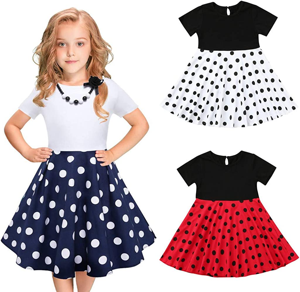 Kids Girls Dress 2-12 Years,Short Sleeve Vintage Polka Dot Princess Party Swing Dresses Fashion Bandage Zipper Dress