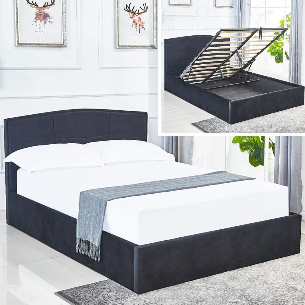 LANKOU - Estructura de cama otomana de terciopelo para almacenamiento, plataforma de elevación, base de colchón (cama doble de almacenamiento de 4 ...