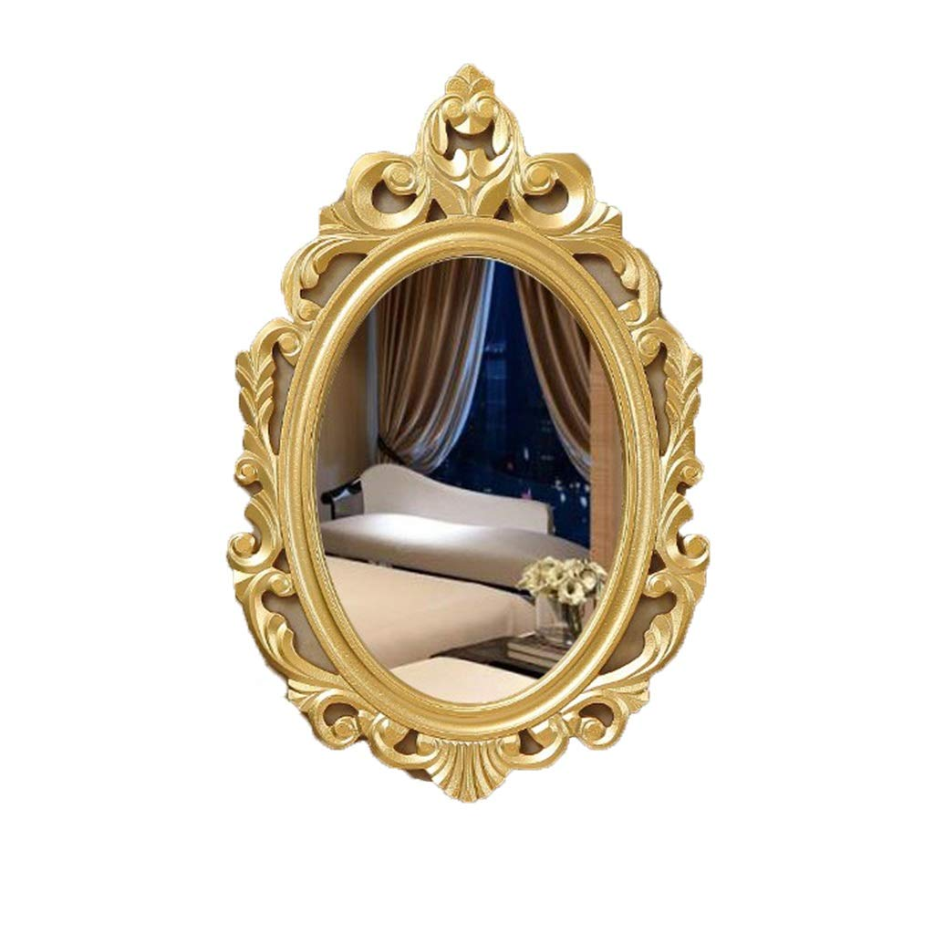 gold NJYT Wall Mounted Bathroom Mirrors, HD Vintage Style Hanging Wall Mirror with Accessories Suit for Dressing Room Bedroom (color   Silver)