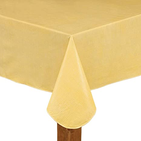Amazon Com Vinyl Restaurant Quality Tablecloth Butter Yellow 60 X 84 Oblong Home Kitchen