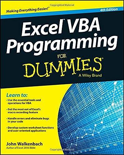 excel vba programming for dummies john walkenbach 9781119077398 rh amazon com Excel Visual Basic Programming Excel Visual Basic While Loop
