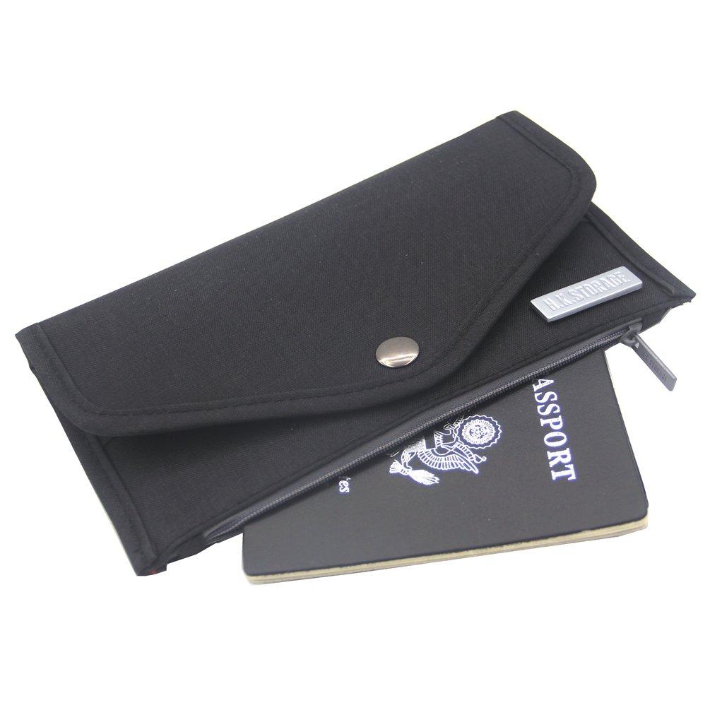 Travel Passport Holder Security Pouch Wallet with RFID Blocking (Black)
