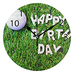 XiangHeFu Wall Clock,Round 10 Inch Diameter Silent Happy Birthday Golf Sport Decorative for Home Office School