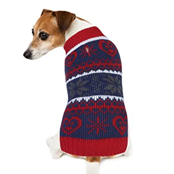 dog christmas sweater petbaba snowflake knitting vintage warm jumper for festive holiday in winter
