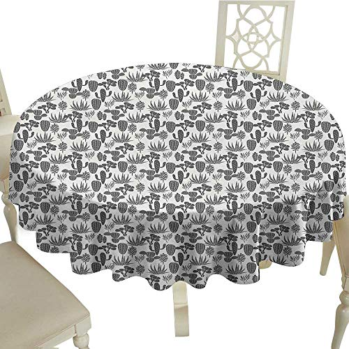 Cactus Easy Care Leakproof and Durable Tablecloth A Collection of Cacti Plant Silhouettes Greyscale Succulent Arrangement Desert Flora Outdoor Picnic D51.18 Inch Grey Ivory