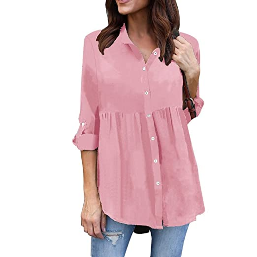 0780269c6 Image Unavailable. Image not available for. Color: Kangma Women Ladies Plus  Size Solid Long Sleeve Casual Chiffon Work Blouse Button-Down Shirt