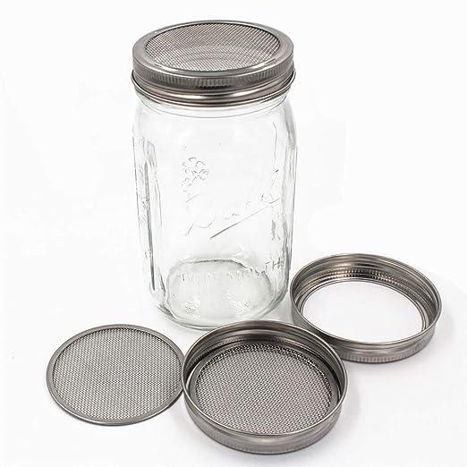 Favson - Juego de 2 tarros de acero inoxidable con tapa de tarro para una excelente ventilación para tarros de masón de boca ancha para hacer semillas de ...