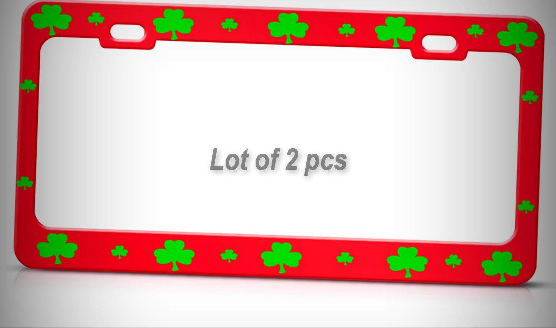 Set of 2 Pcs - Shamrock Lucky Irish RED Heavy Duty Metal Irish Tag Holder License Plate Frame Decorative Border