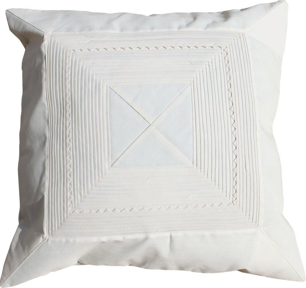 Full Funk Thai SIlk Pillow Case Floral Wave Design 16 inch x 16 inch, Cream