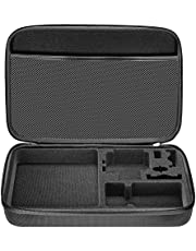 "Neewer EVA 12.8x8.46x2.48""/32.5x21.5x6.3cm Shockproof Carrying Case for GoPro Hero Session/5 Hero 1 2 3 3+ 4 5 6 7 SJ4000 5000 6000 APEMAN WiMiUS Rollei QUMOX and Accessories with Handle Large Size Black"