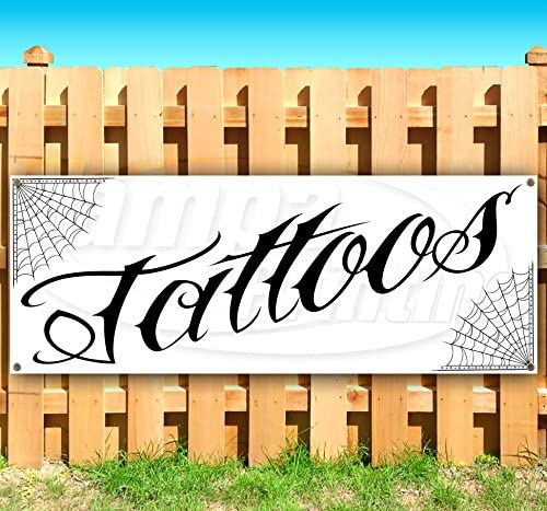 New Many Sizes Available Tattoos 13 oz Heavy Duty Vinyl Banner Sign with Metal Grommets Advertising Store Flag,