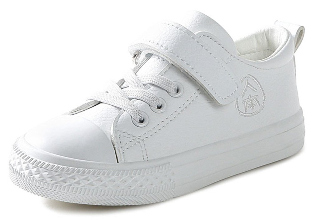 SFNLD InStar Kids' Super Casual Round Toe Hook and Loop Strap Travel Sneakers Shoes White 8 M US Toddler