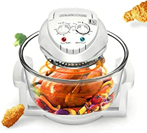 12L Air Fryer Turbo Convection Oven Electric Hot Air Fryers Roaster Steamer Transparent Glass Air Fryer 360° Heating Low Fat Kitchen Cooker for Frying Roasting Steaming Defrosting