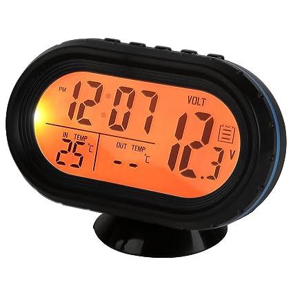 DSstyles Car Temperature Gauge 3 in 1 Digital Car Thermometer Car Clock with Voltmeter Monitor LCD Display Blue and Orange Backlight DC 12V Freeze Alert