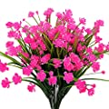 Artificial Fake Flowers 4 Bundles Outdoor Uv Resistant Greenery Shrubs Plants Indoor Outside Hanging Planter Home Garden Decor Pink