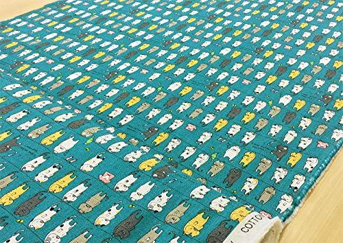 猫柄 生地【ターコイズブルー】 洗濯にゃんこ 綿麻キャンバス コットンリネン 干されたネコ 動物 アニマル ねこ 猫 ネコ 布 布地 手芸【1m単位】