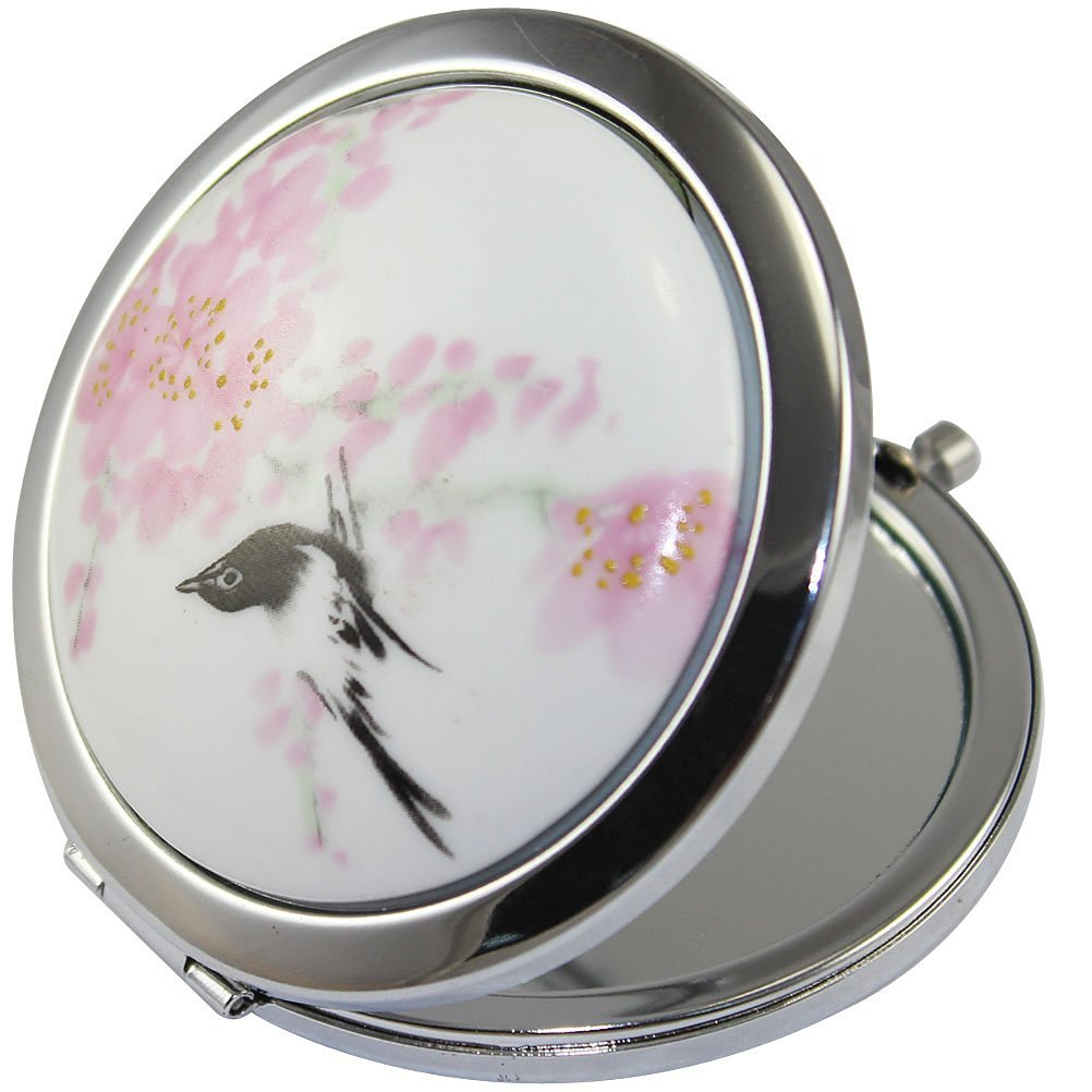 KOLIGHT New Vintage Chinese Landscape Flower Bird Double Sides Portable Foldable Pocket Metal Makeup Compact Mirror Woman Cosmetic Mirror (Flower+Black Bird)