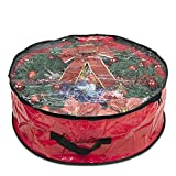 """ProPik Wreath Storage Bag Polyester Tear Resistant Fabric for Holiday Easy Storage with Clear Window Featuring Heavy Handel's and Transparent Card Slot 30"""" X 30"""" X 8"""" (Red)"""