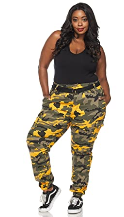 0296b5ce102 Image Unavailable. Image not available for. Color  SOHO GLAM Plus Size  Belted Yellow Camouflage Cargo Jogger Pants