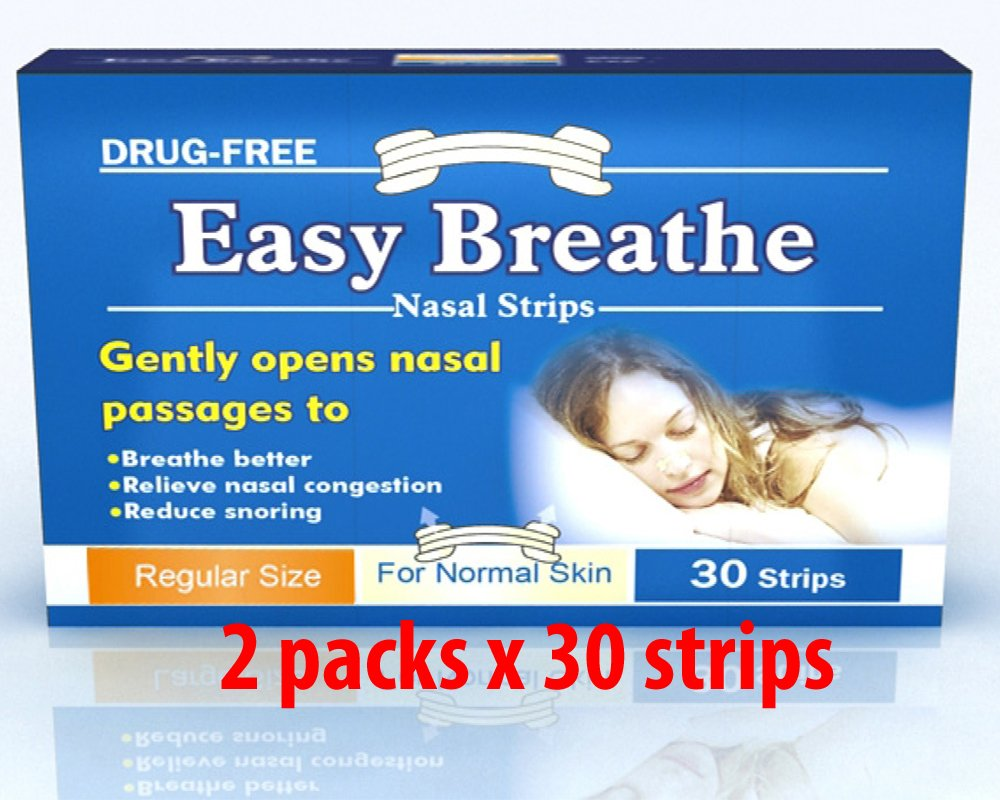 Easy Breathe Natural Nasal Strips - Regular Size (S/m) (60 Strips) ** Drug Free** Reduce Snoring - Relieve Nasal Congestion* 60 Strips