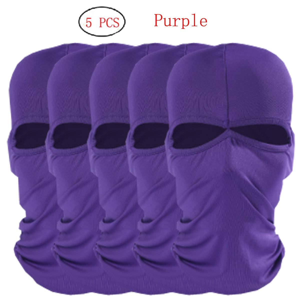 5pcs lot 2 Holes Purple Windproof Ski Mask Cold Weather Face Mask Motorcycle Neck Warmer or Tactical Ultimate Thermal Retention in Outdoors Super Comfortable Hypo-allergenic Moisture Wicking by CxYuan