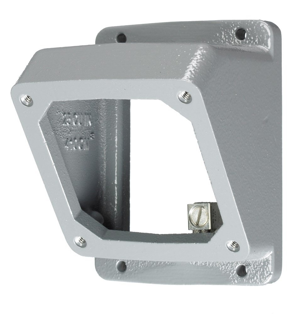 Hubbell Wiring Systems AB203055 Twist-Lock Safety-Shroud Metallic 55 Degree Angle Adapter and Back Box, 1'' NPT Hub