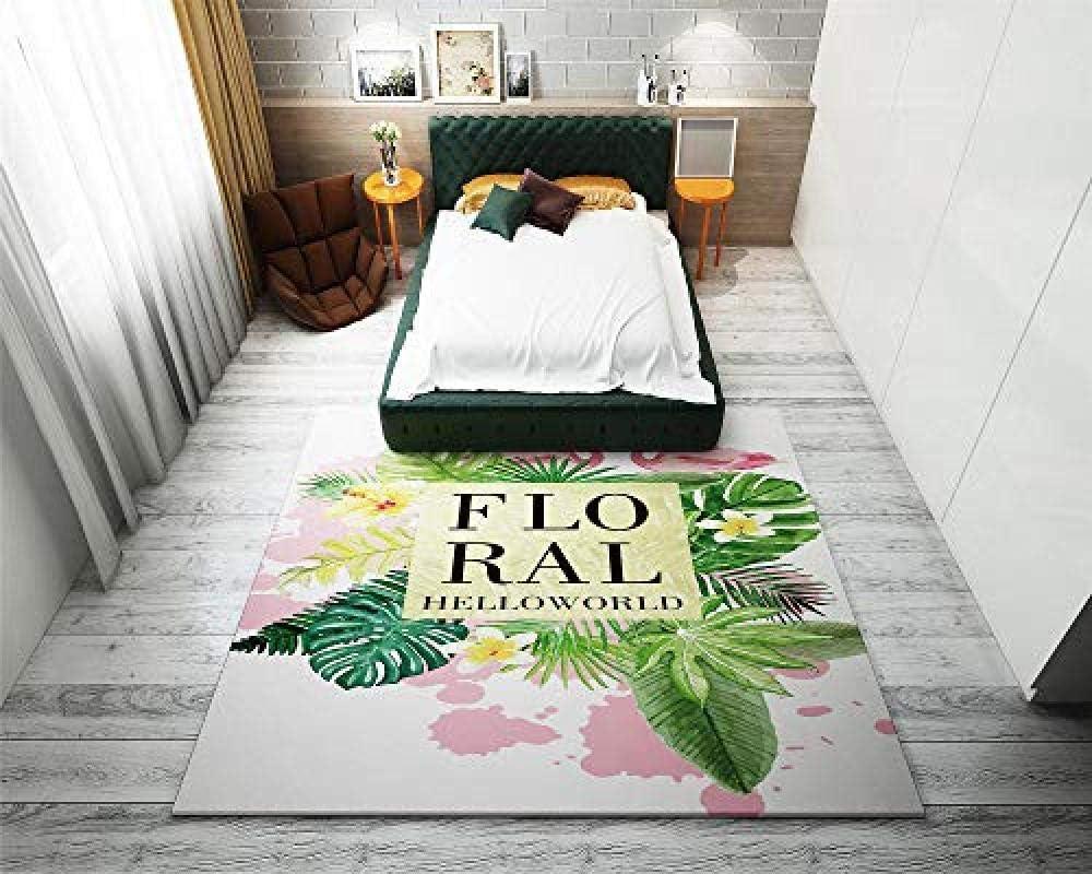 Airxcn Alfombras para habitación de huéspedes Alfombra de Piso para Sala de Estar Árbol de mar Floral Árbol de Coco Hoja de Tortuga Resbalón Alfombrilla Impermeable Suave -180x260cm