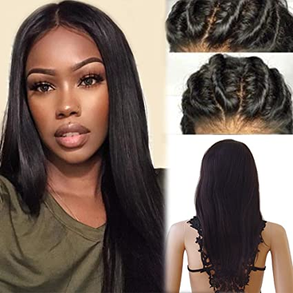 Peluca de mujer 100% cabello humano natural brasileño, liso