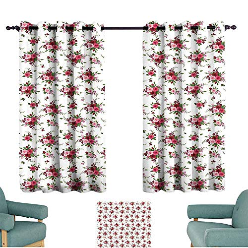 Mannwarehouse Flowers Classical Curtain Bridal Bouquets Pattern with Roses and Freesia Romantic Victorian Composition Privacy Protection 63