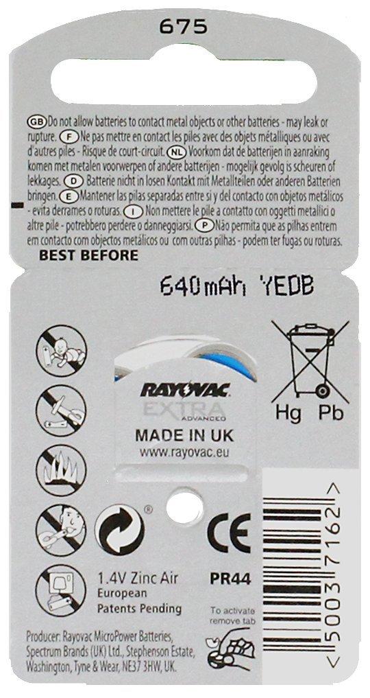 Rayovac Extra Advanced Hearing Aid Batteries Size 675 (1 Box) (60 Batteries) + Keychain by Rayovac (Image #1)
