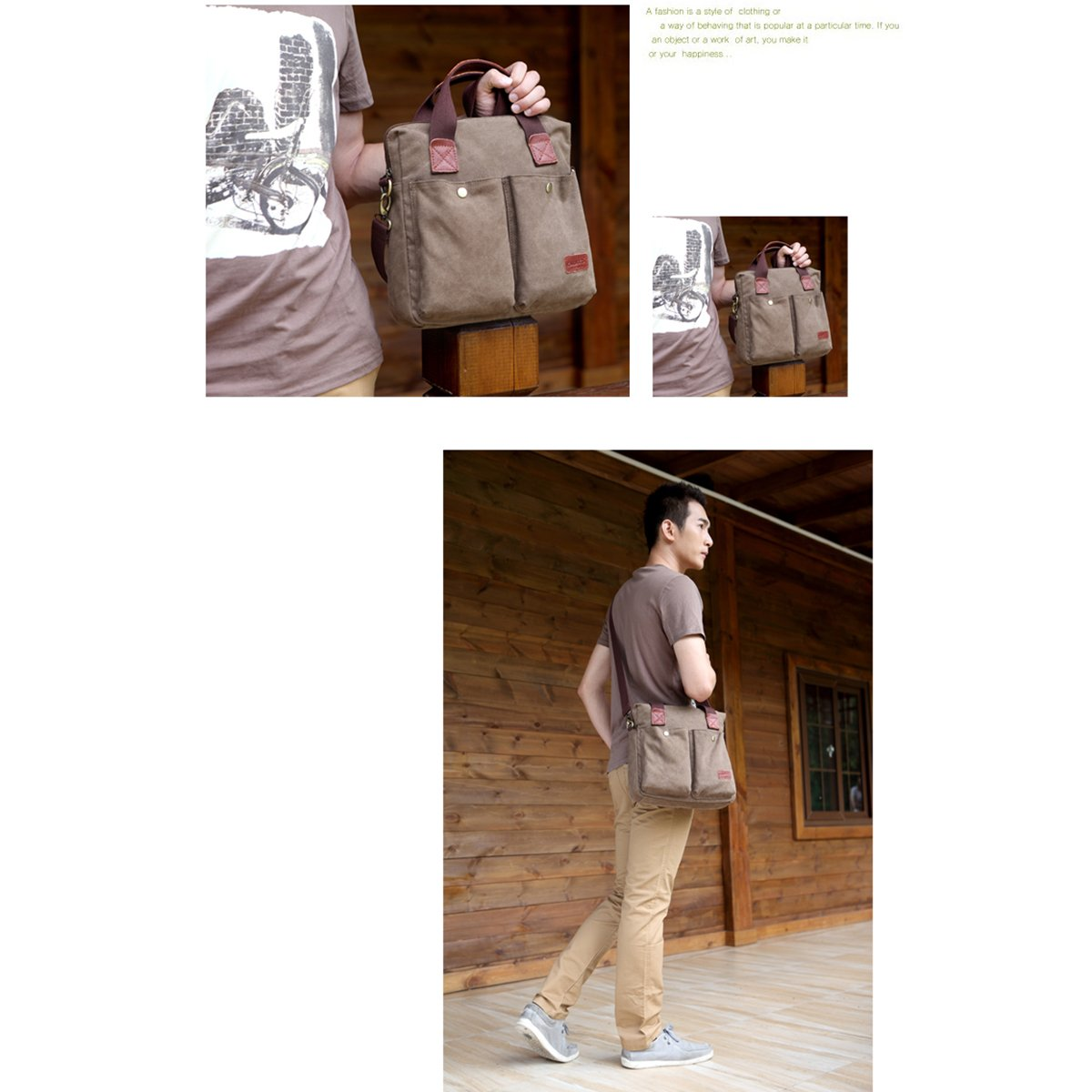 KAUKKO Retro Style Multi-functional Mens Boys Canvas Handbag Briefcase Business Bag Messenger Shoulder Bag Travel Bag Brown