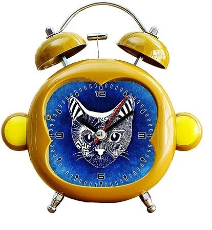 Cute Students Mute Bell Alarm Clock Desktop Quartz Analog Nightlight Desk Clock