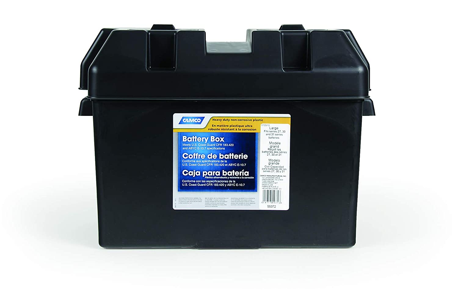 Measures 7 /¼ x 10 /¾ x 8 - Group 24 |Safely Stores RV and Marine Batteries |Durable Anti-Corrosion Material Automotive Camco Heavy Duty Battery Box with Straps and Hardware 55362