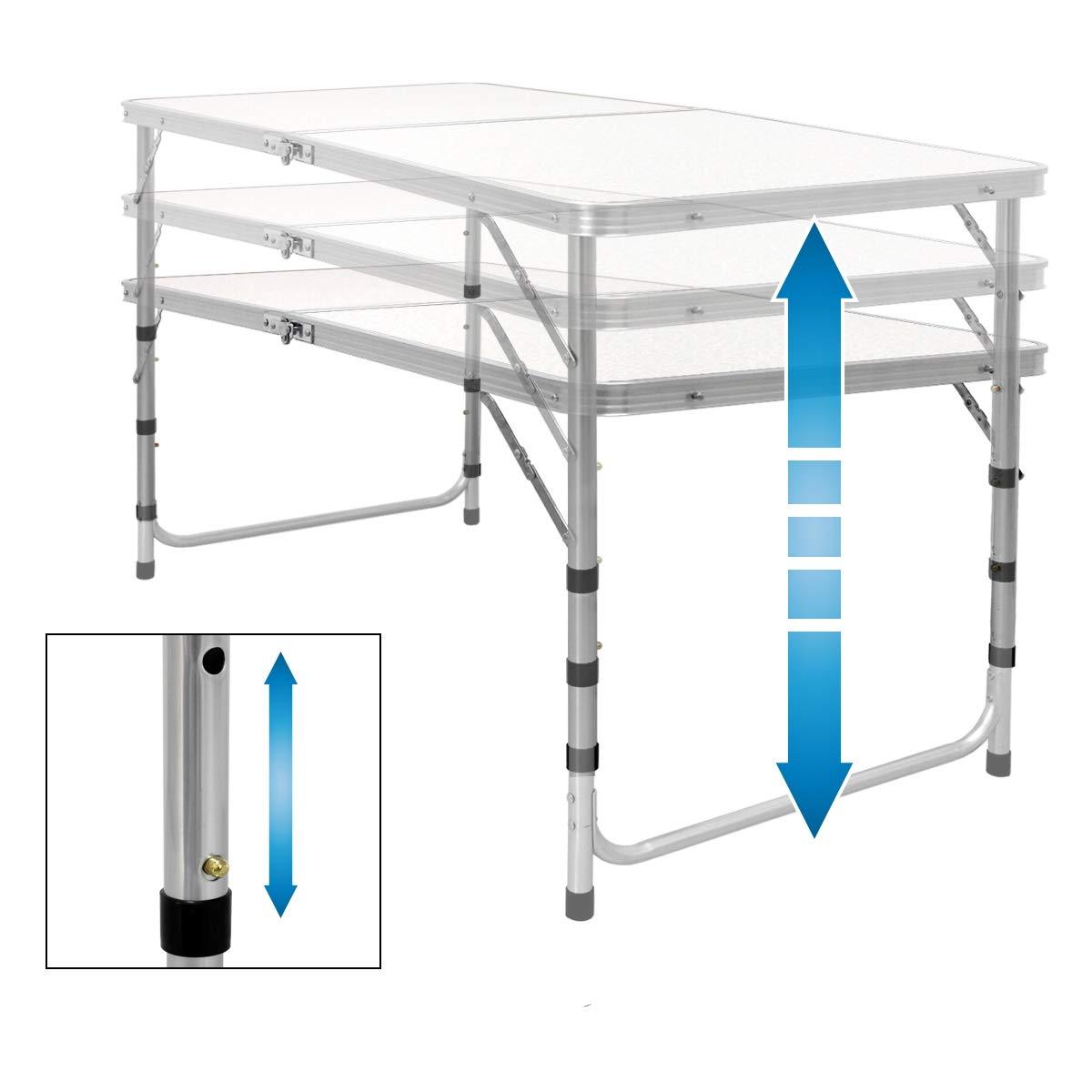 en aluminium et MDF hauteur r/églable table pliante ECD Germany Table de camping 120 x 60 x 55//63//70 cm blanc//cr/ème charni/ères