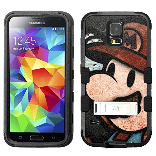 for Samsung Galaxy S5, Hard+Rubber Dual Layer Hybrid Heavy-Duty Rugged Armor Cover Case - Super Mario #B