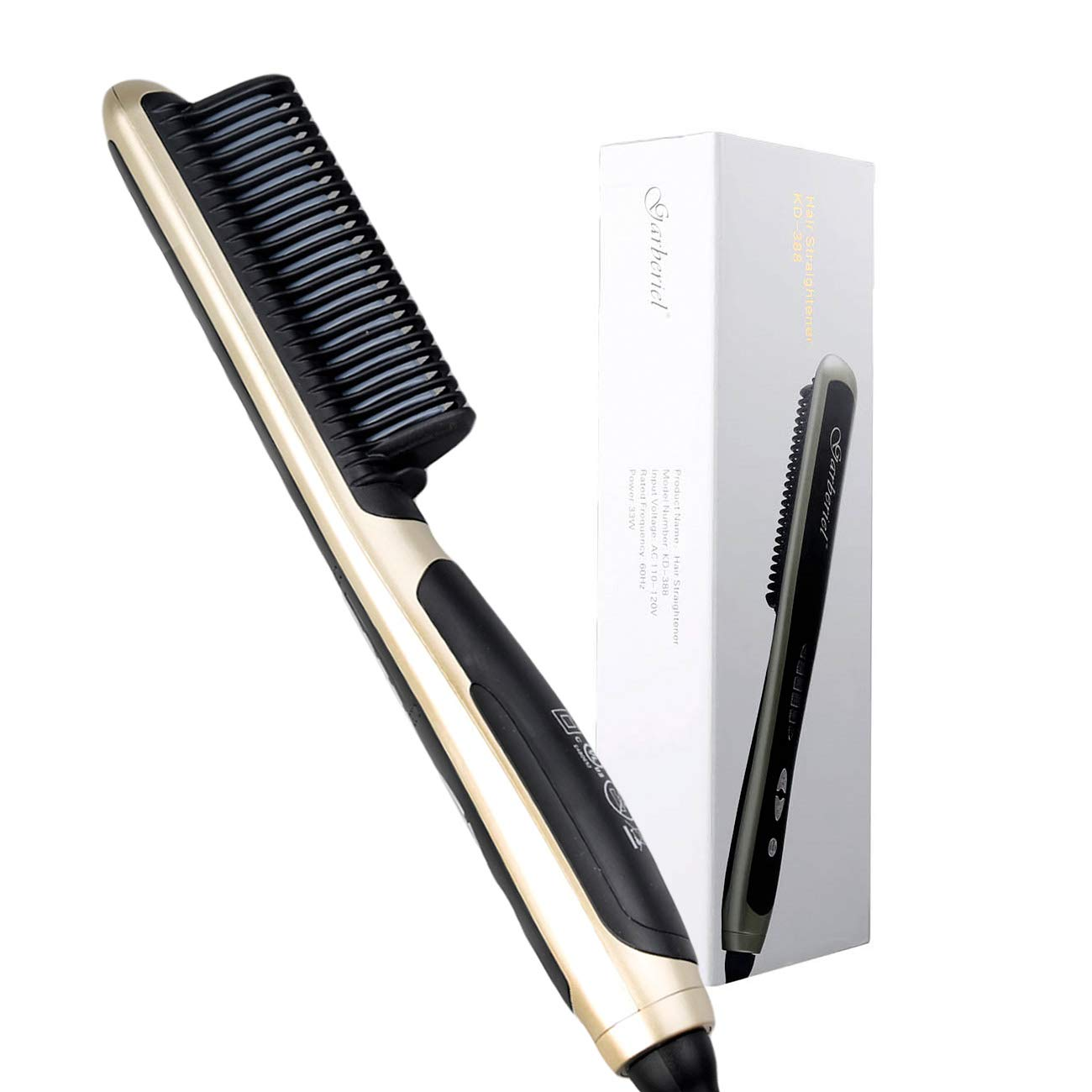 HeCloud Safety Ceramic Hair Straightener Brush Hair straightener Comb 110V 33W