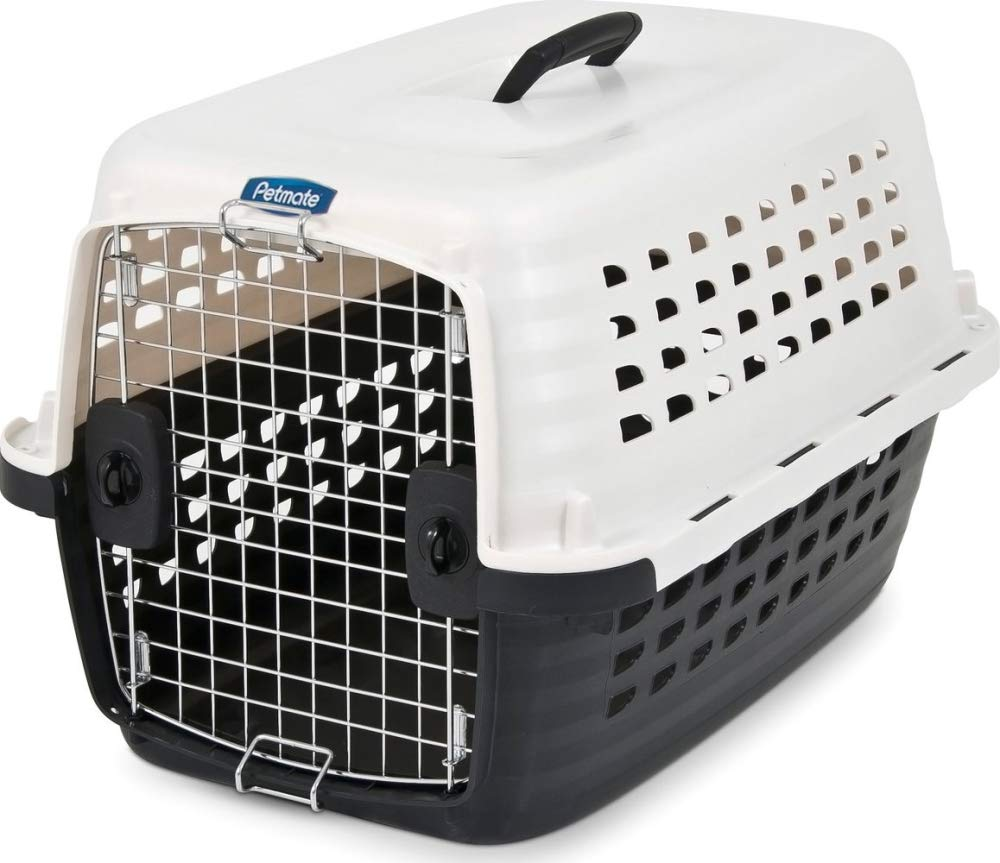 PEARL WHITE BLACK 10-20LBS PEARL WHITE BLACK 10-20LBS Petmate Compass Fashion Kennel Cat and Dog Kennel