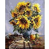 Wanrane Oil Painting 40X50CM Frameless Sunflower Canvas Linen Canvas Oil Painting DIY Paint by Numbers Home Wall Art