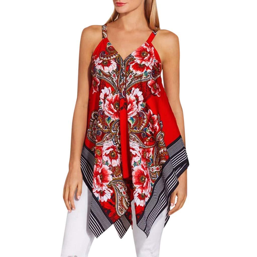 Kiminana Top Blouses Vests,Women's Irregular Hem Printed Sleeveless Blouse Loose T-Shirt Tunic Tank Top Red