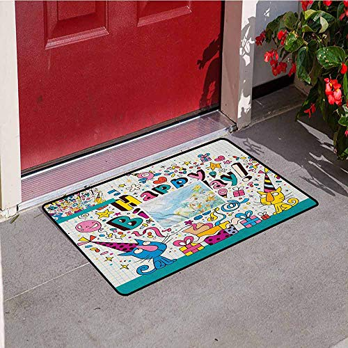(Gloria Johnson Kids Birthday Universal Door mat Math Note Pad Inspired Design Cartoon Style Animals Cats Present Image Door mat Floor Decoration W19.7 x L31.5 Inch Blue and White)