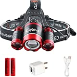 LED Headlamp, Loyalfire 3 Headlamp XML-T6 Bright Light 4 Modes Rotary Zoomable Waterproof Headlight Flashlight with Powered Battery USB Rechargeable, for Camping/Hiking / Travel/Reading