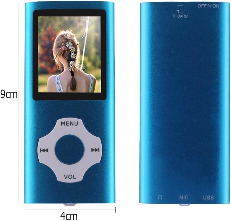 Ueleknight MP3// MP4 Player con Scheda Micro SD da 16 GB,Lettore Musicale Digitale Portatile//Video//di E-Book//Visualizzazione di Immagini Bleu Schermo da 1,8 Pollici Economico Musicale