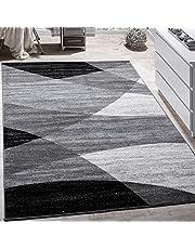 Paco Home Designermatta, modern, böjda vågor, linjer, mönster, kort lugg, melerad, röd